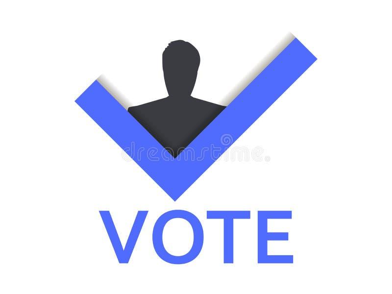 Abstimmungssymbol Häkchen und Mann Abstimmung YES Vektor stock abbildung