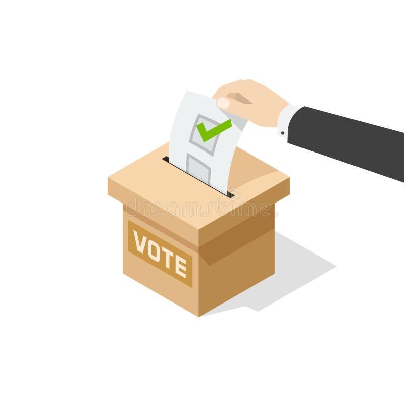 Abstimmungsvektor bemannen Handpolitischen Stimmzettel im Abstimmungskasten lizenzfreie abbildung