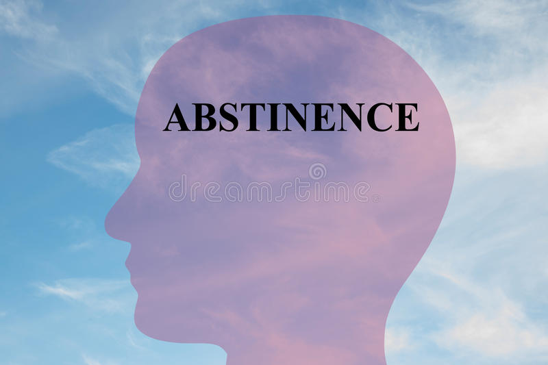 Abstinence concept. Render illustration of Abstinence title on head silhouette, with cloudy sky as a background stock images
