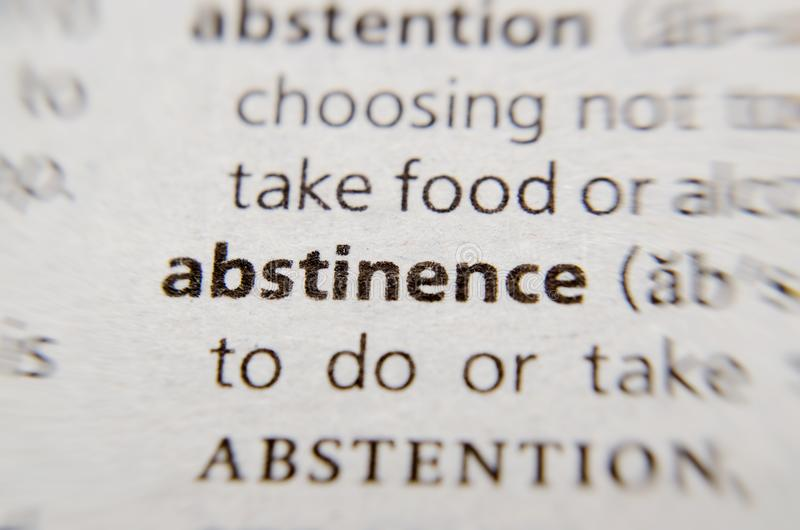 Abstinence word. In dictionary stock photos