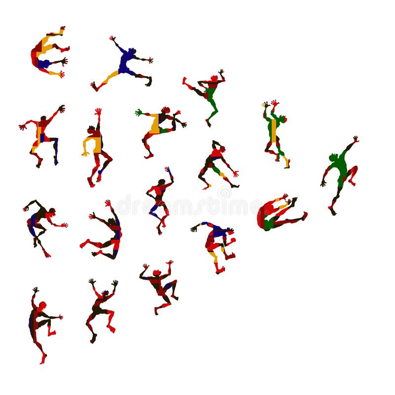 Vector set collection of aggressive and expressive male dance book illustration. royalty free illustration