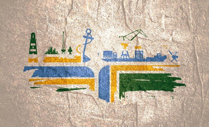Abstração comercial do porto ilustração stock