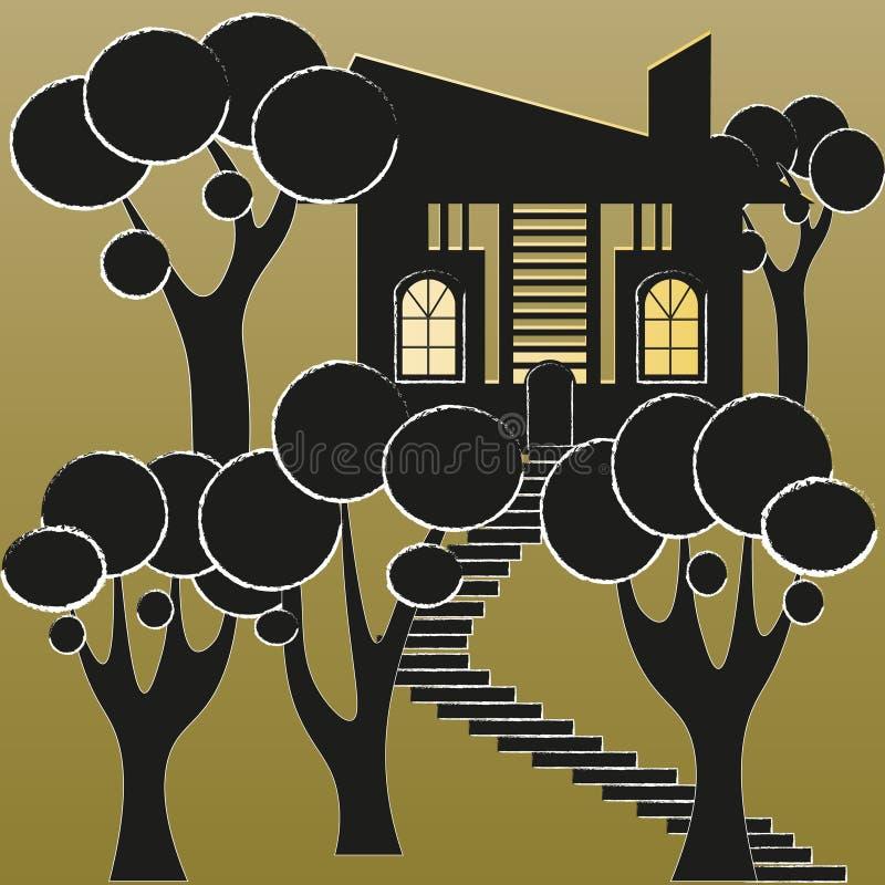 Abstração da casa e do jardim ilustração stock