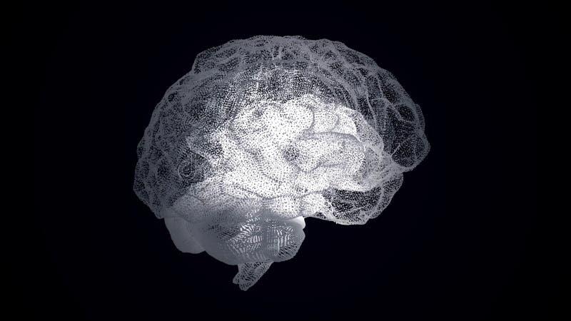Abstração da estrutura do cérebro humano no fundo preto Conexões científicas e técnicas futuristas do cérebro dentro ilustração do vetor