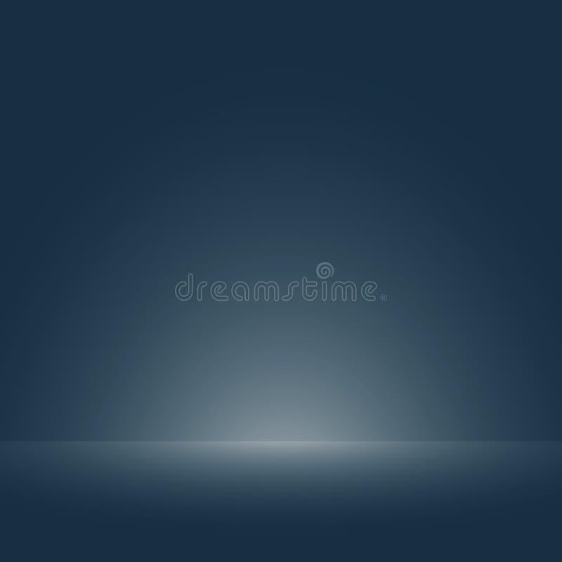 Abstração da obscuridade brandamente lisa - azul com luz do inclinação do assoalho para o fundo do molde ilustração stock