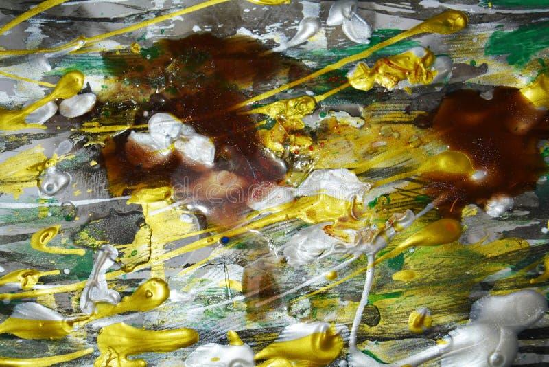 Abstração da pintura da cera, estrutura verde de prata branca dourada, projeto criativo da aquarela da pintura fotos de stock royalty free