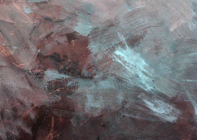 Abstração dos cursos da pintura na lona Cores azuis, pretas, cinzentas do fundo fotos de stock