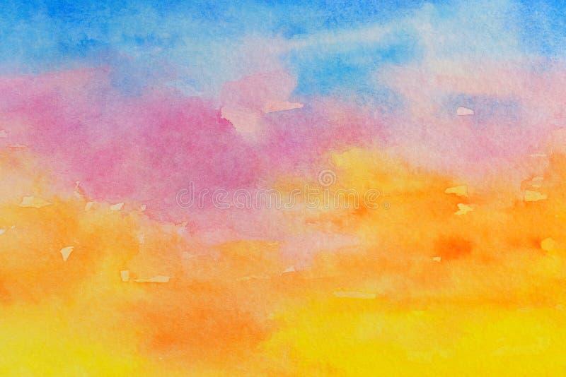 Abstração impetuosa da aquarela do por do sol como o fundo Mão tirada e pintada ilustração do vetor