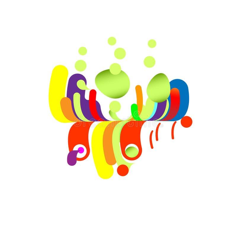Abstração moderna, cachoeira da composição, tropical feito de várias formas arredondadas na cor Ilustração do vetor ilustração stock