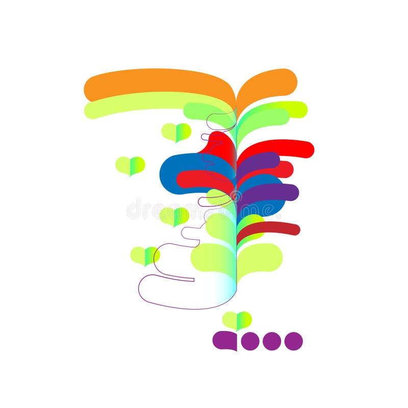 Abstração moderna, cachoeira da composição, tropical feito de várias formas arredondadas na cor Ilustração do vetor ilustração do vetor