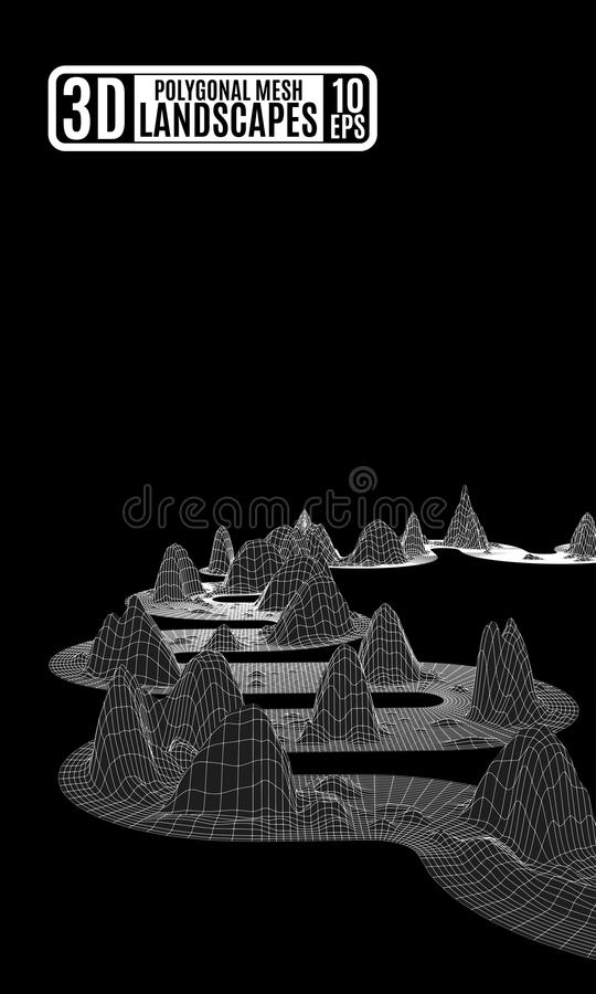 Abstração preto e branco com montanhas poligonais ilustração stock