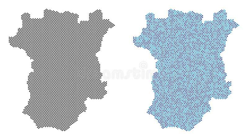Abstrações pontilhadas do mapa de Chechnya ilustração royalty free