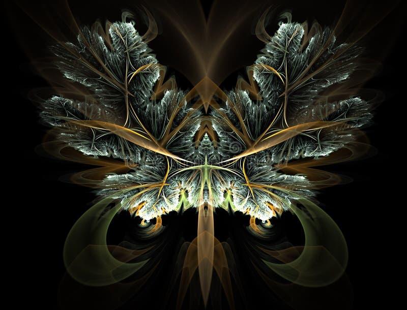 Abstra??o art?stica composta de formas e de luzes da borboleta do fractal ilustração do vetor