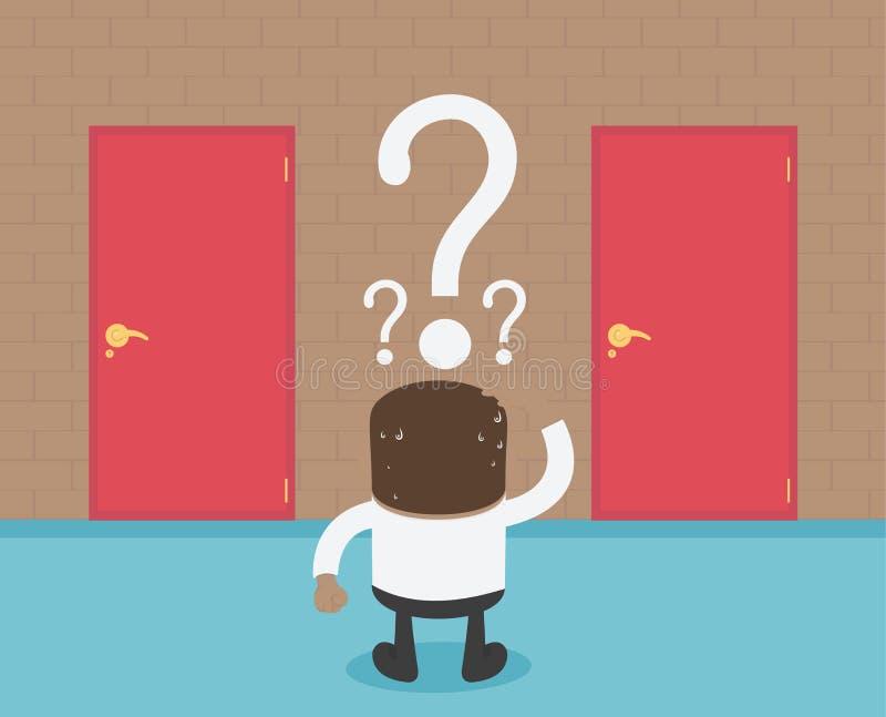 Abstra rojo del concepto de la historieta de Choosing The Door del hombre de negocios africano libre illustration