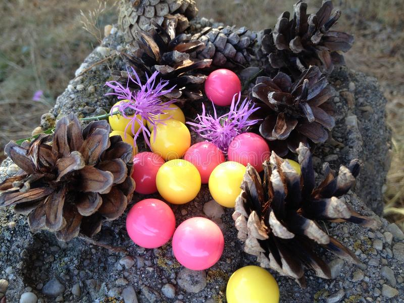 Abstrac balls. Abstract paint balls withe pine cones stock photos