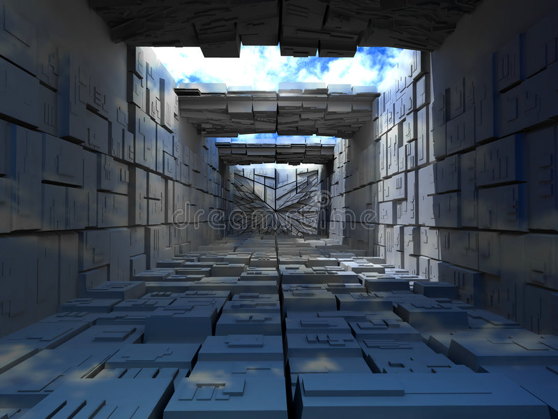 abstrac boxes byggnad royaltyfri illustrationer