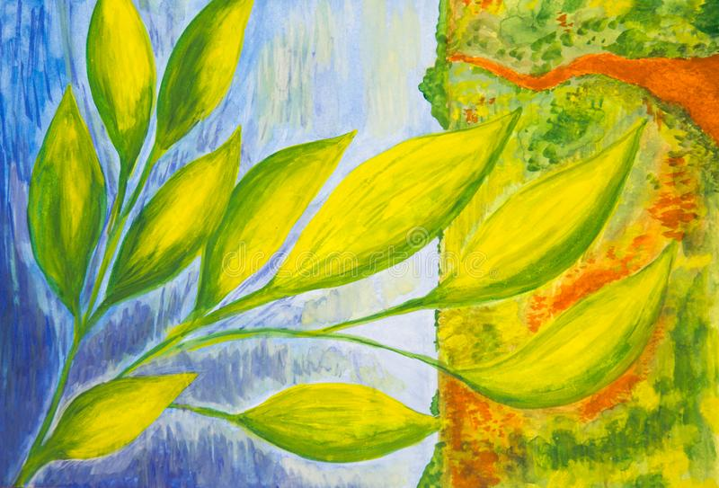 Abstrac??o Ramo verde-amarelo no fundo da água azul e da clareira amarela imagens de stock
