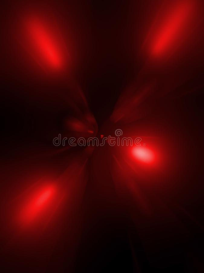 Abstracción, color rojo del túnel en fondo negro foto de archivo