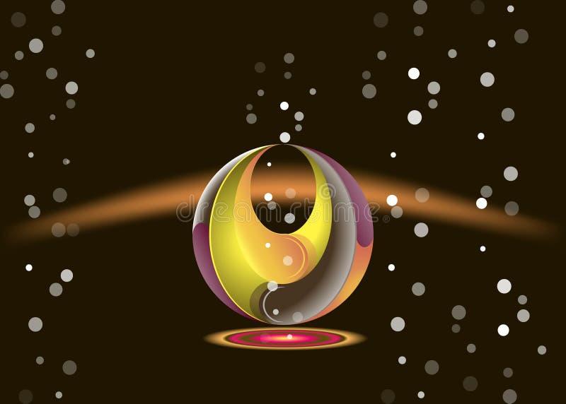 Abstracción de la flora en un fondo negro con las burbujas ilustración del vector