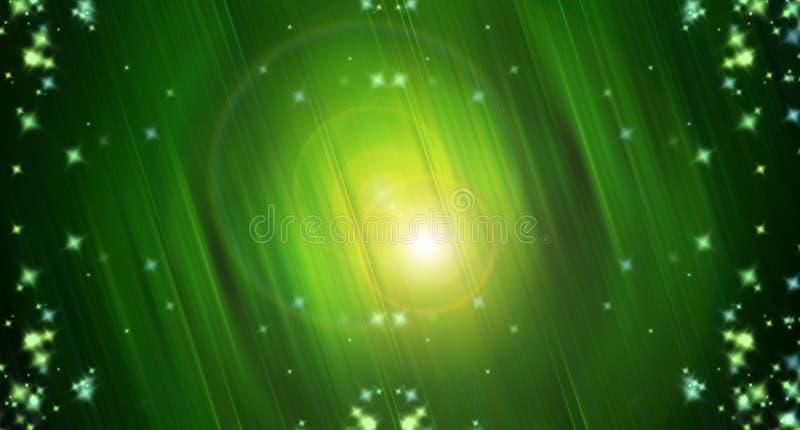 Abstracción de la luz verde, rayos y chispas, fondo artístico brillante, ejemplo generado por ordenador 3d ilustración del vector