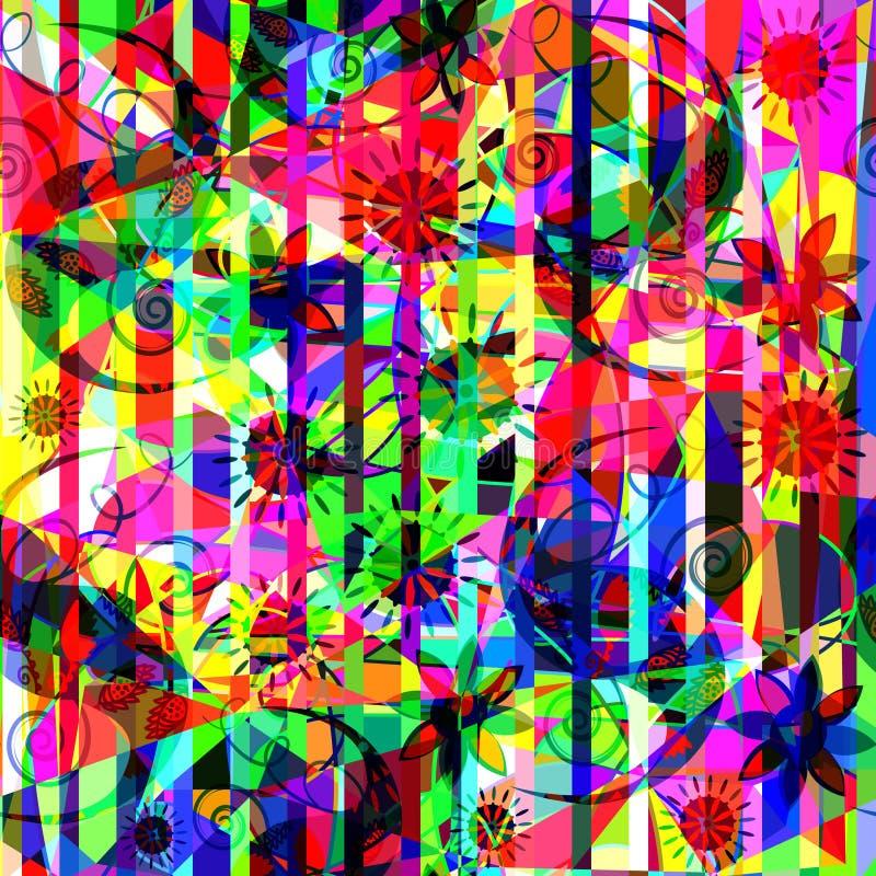 Abstracción floral colorida, diseño del ejemplo stock de ilustración