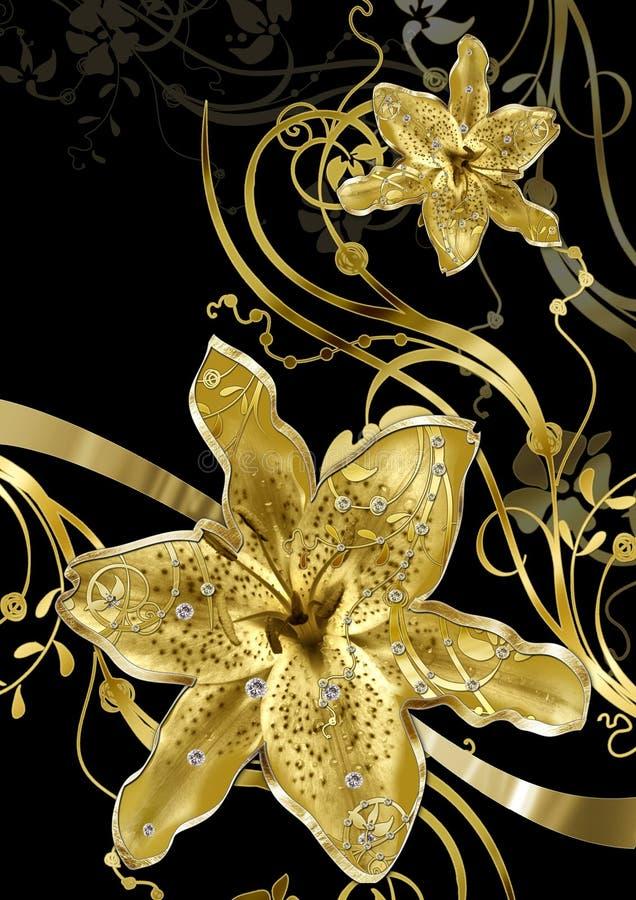 Abstracción floral del oro libre illustration