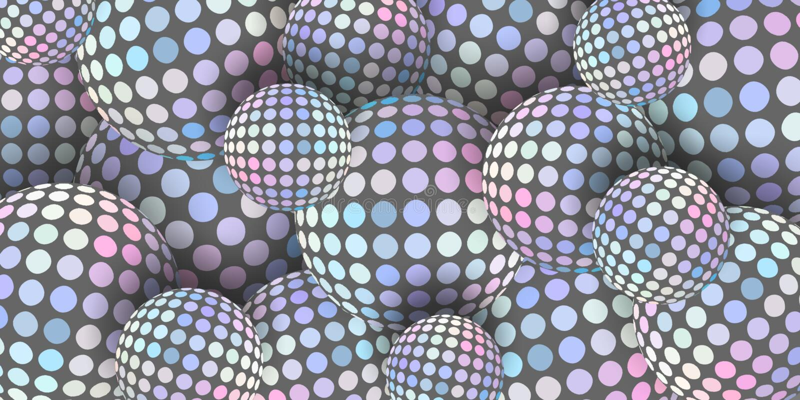 abstracción gráfica de las esferas 3d Fondo rosado azul gris claro creativo del mosaico ilustración del vector