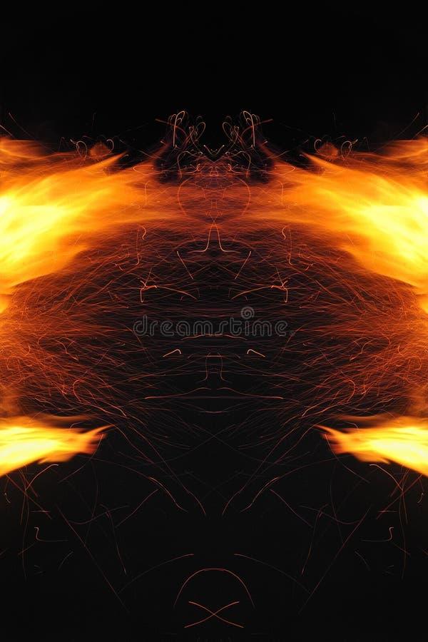 Abstracci?n, fuego ardiente con las chispas Prototipo m?stico con los modelos para el fondo Reflexi?n horizontal fotografía de archivo
