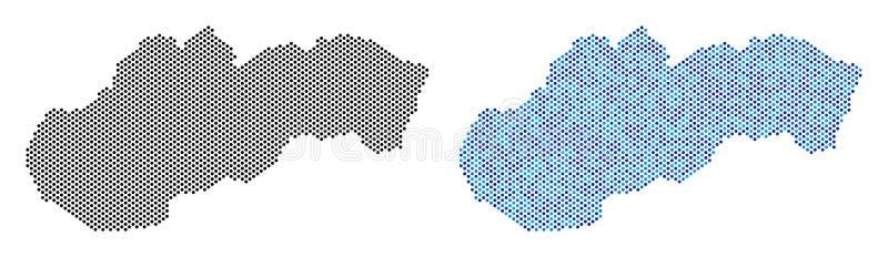 Abstracciones del mapa de Eslovaquia del pixel ilustración del vector