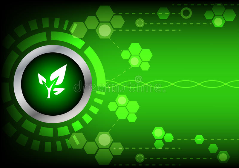 Abstrack button green energy technology on green background vector illustration
