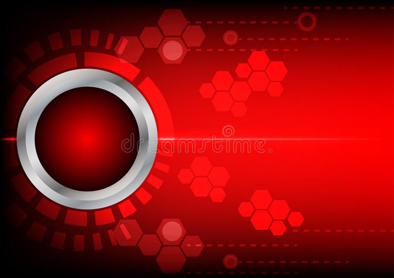 Abstrack button red technology and light on red background vector illustration