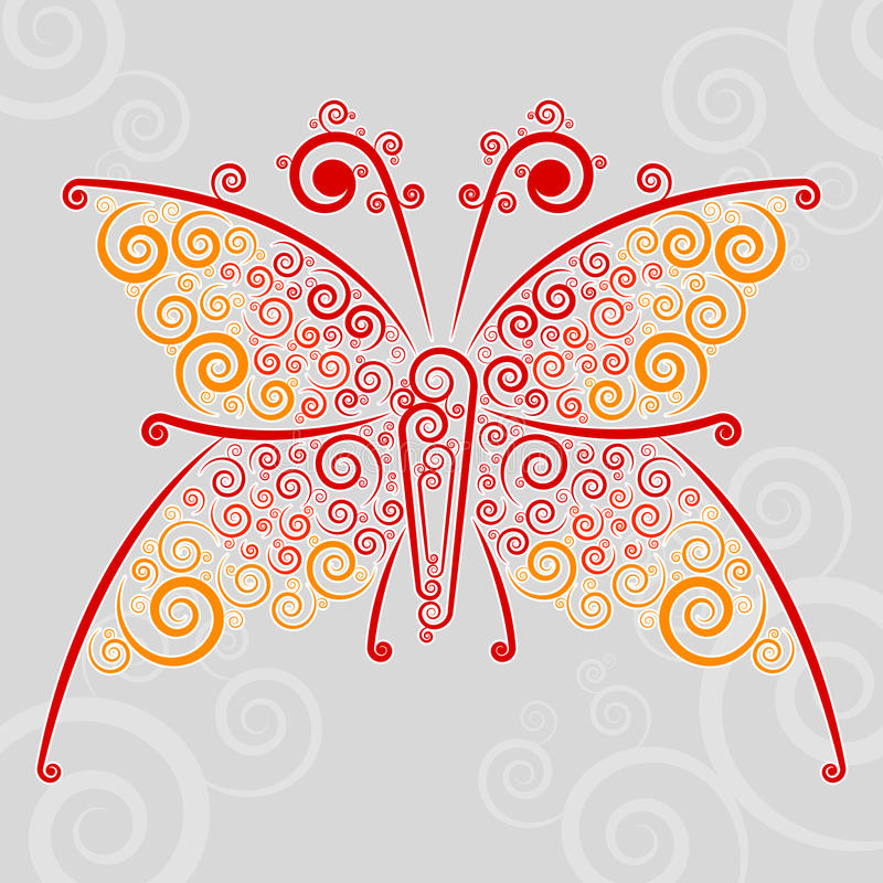 Abstract �url techno-butterfly. Abstract techno flourishes of butterfly on a gray background vector illustration