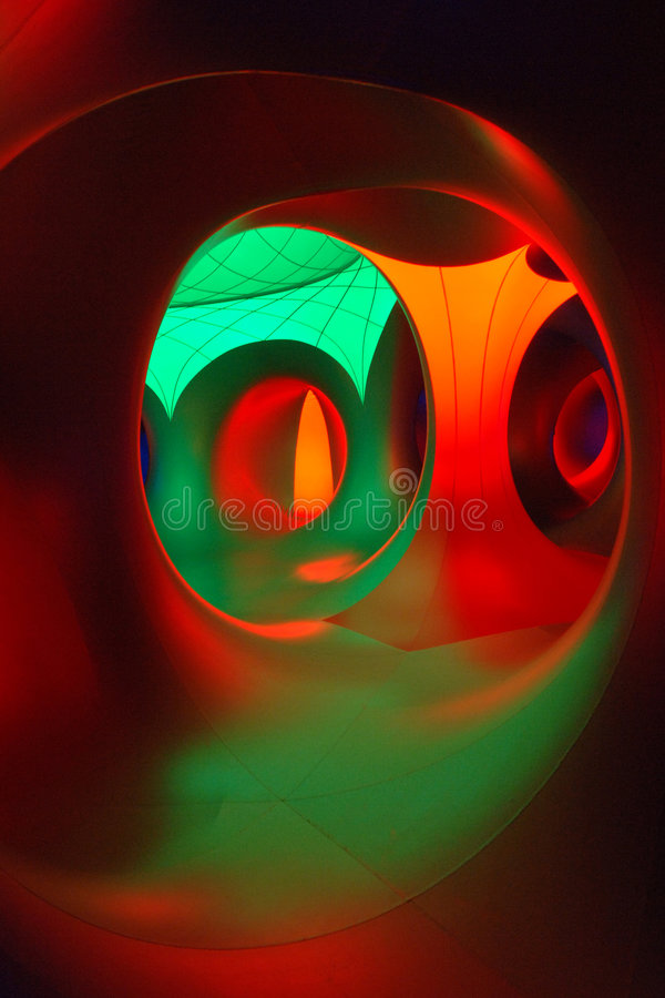 Abstract. View through the interior of a inflated canvas stock photo