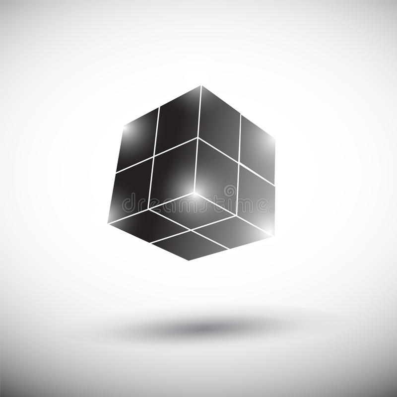 Abstract 3D black cube stock illustration
