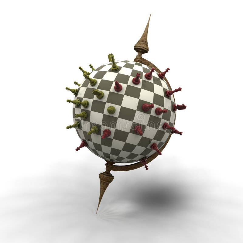 Abstract 3D chessboard stock illustration