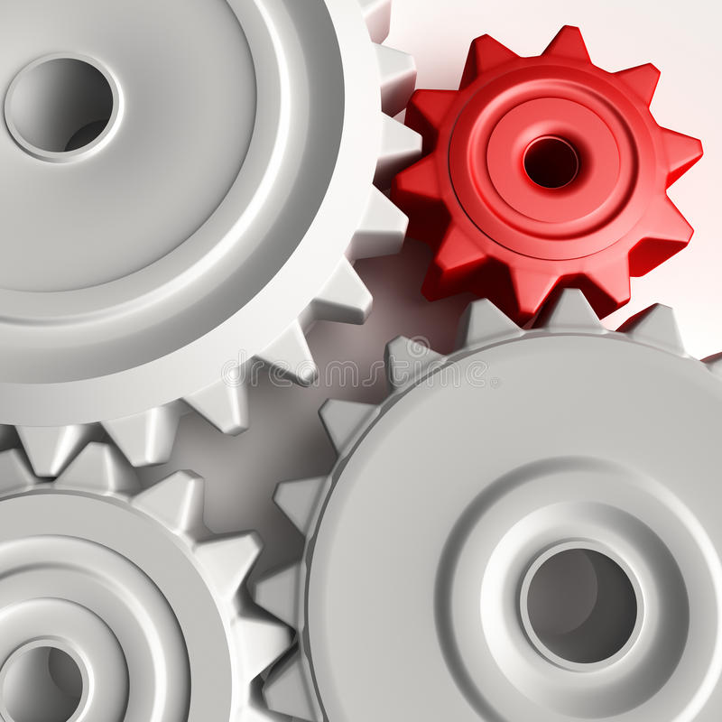 Abstract 3D concept of gear wheels stock illustration