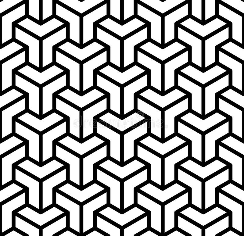 Free Abstract 3d Cubes Geometric Seamless Pattern In Black And White, Vector Royalty Free Stock Images - 98845819
