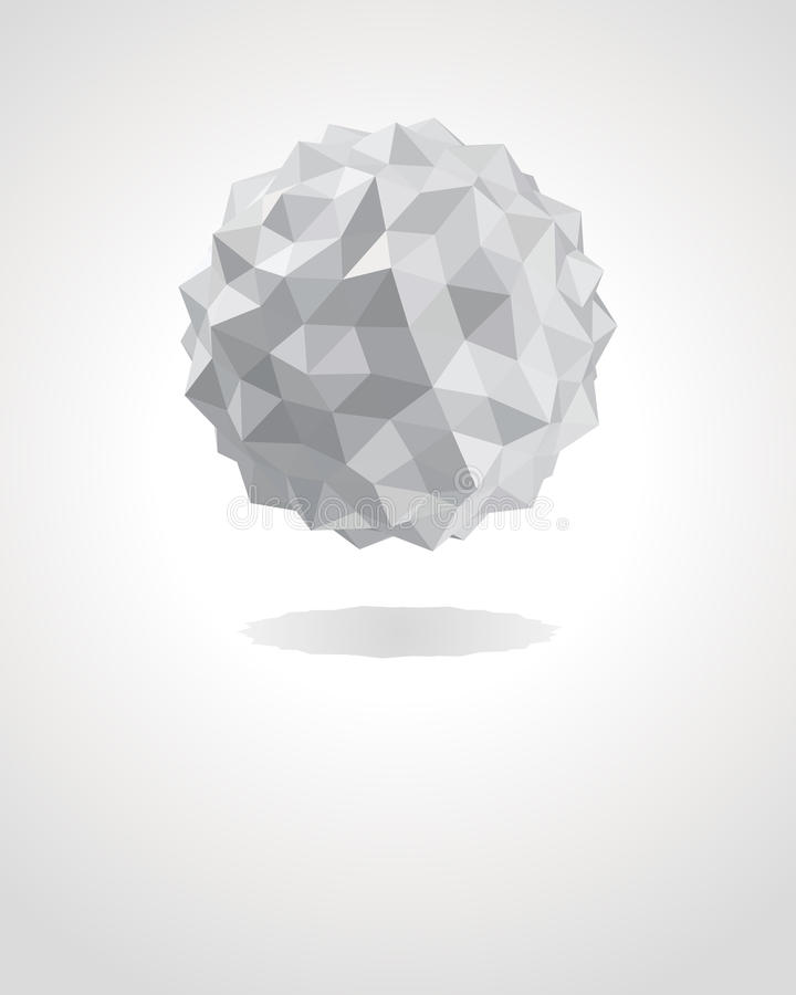 Abstract 3d origami paper sphere vector illustration