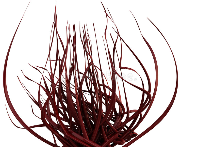 Abstract 3D Red Flower/Vines. An abstract, flower-like image of shiny and reflective red vines/flourishes isolated on a white background stock illustration