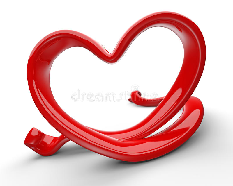 Abstract 3d red love heart. Abstract 3d illustration of red love heart isolated on white background stock illustration