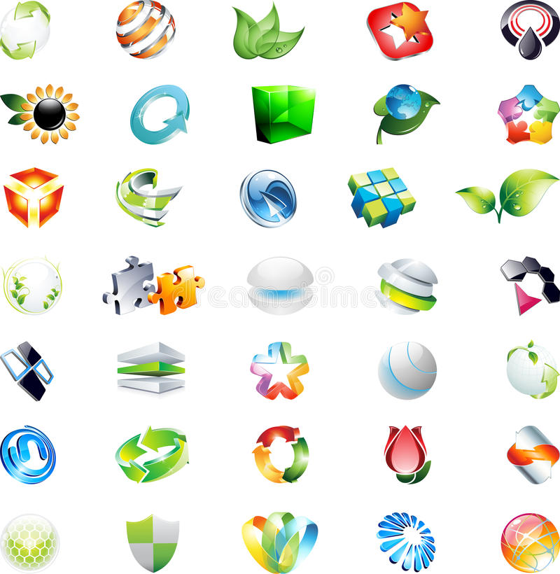 Download Abstract 3d Vector Icons Logos Stock Vector - Illustration: 25995127