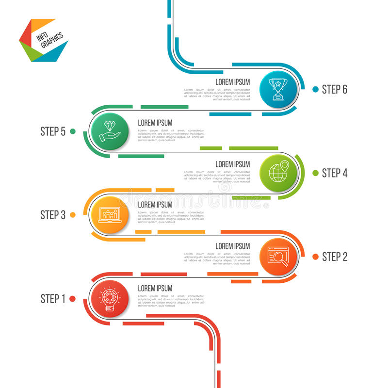 Free Abstract 6 Steps Road Timeline Infographic Template. Stock Image - 97374921