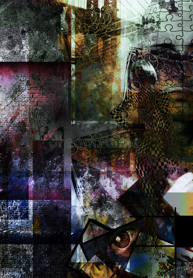 Abstract. Grunge with human and city elements royalty free illustration