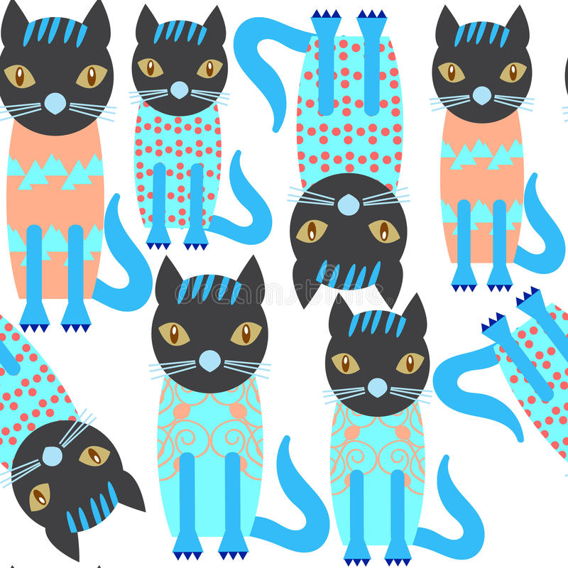 Abstract aanbiddelijk leuk katten naadloos patroon en naadloze patte stock illustratie