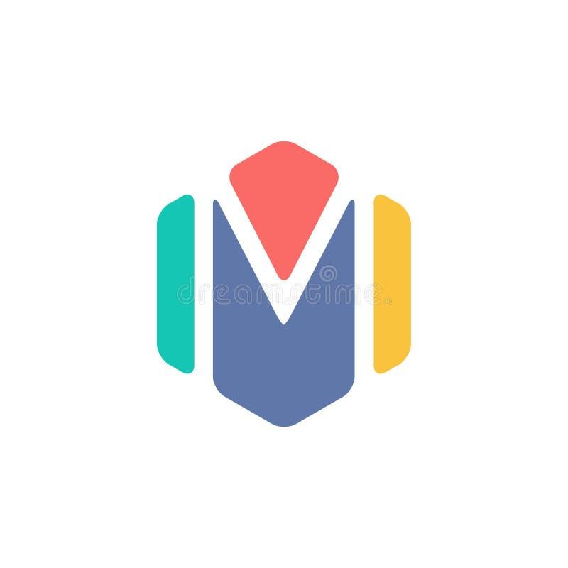 Abstract Aanvankelijk M Hexagon Symbol Kleurrijk creatief Word Art. stock illustratie