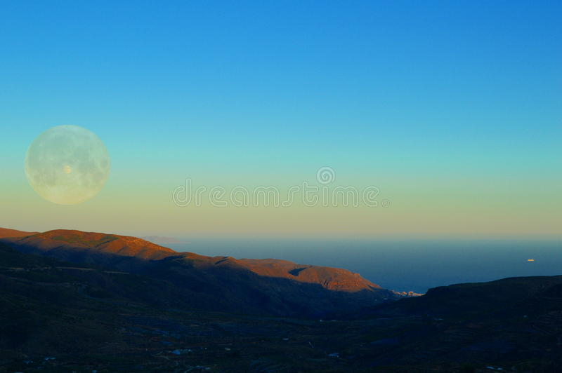 Abstract. Abstrac landscape. Sea, mountain and sky royalty free stock photos