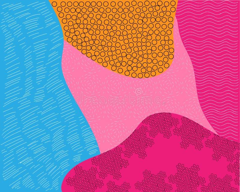 Abstract achtergrondtextuurontwerp, heldere affiche, banner gele achtergrond, roze en blauwe strepen en vormen vector illustratie