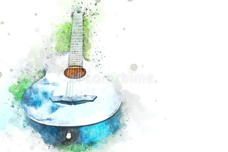 Abstract acoustic guitar on green grass on watercolor illustration background vector illustration