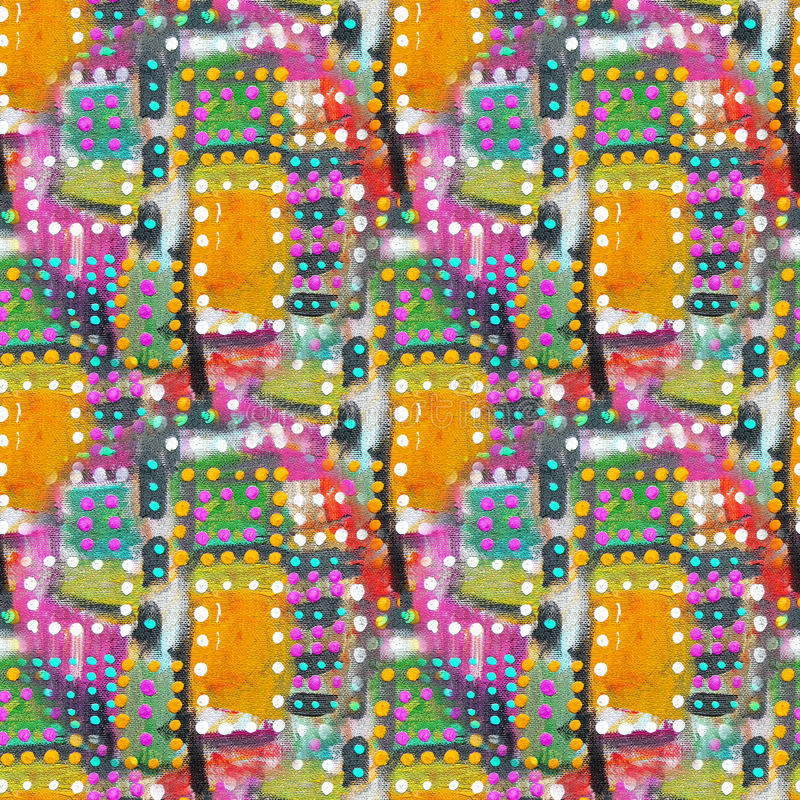 Abstract acrylic artistic colored polka dot seamless pattern in the form of squares. Geometric drop,simple point,bright stain.Hand drawing baby background.Good royalty free stock images