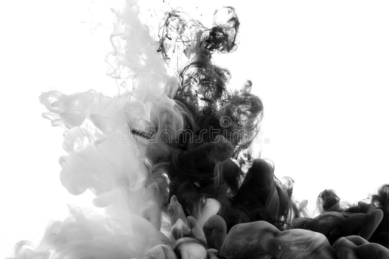 Abstract acrylic black and white paint stock photos
